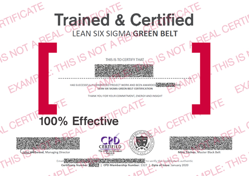 Lean Six Sigma Green and Black Belt example certificate for CSSC