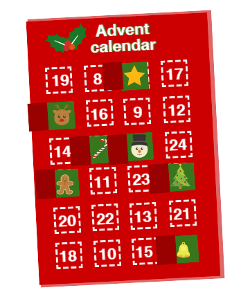 Advent calendar with open doors.