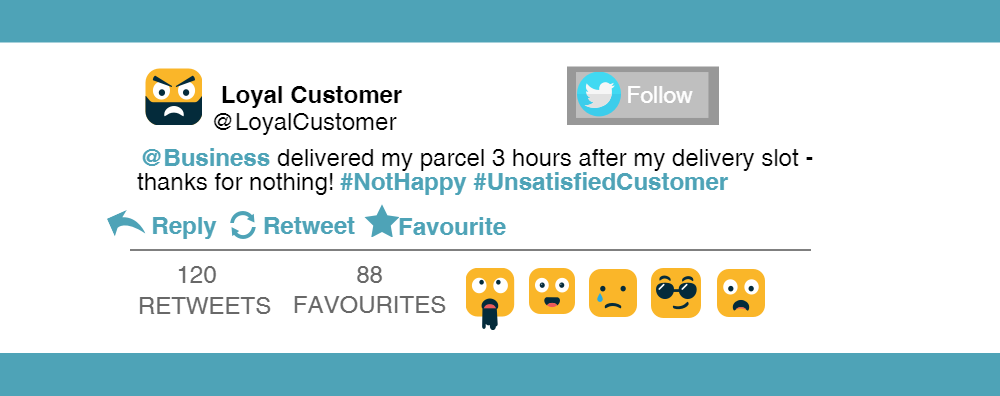 Unhappy customer tweet.